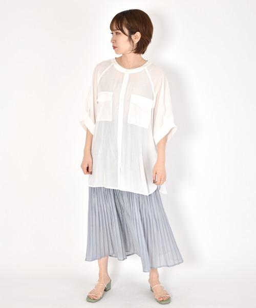 [w closet] ポリブロードランダムプリーツスカート