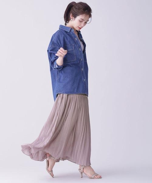 [nano・universe] WEB限定/シャドーチュールカットプリーツスカート