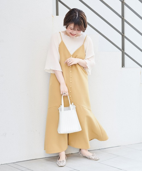 [natural couture] 前後2WAYちび釦キャミワンピース