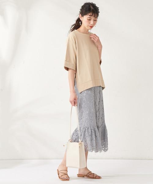 [natural couture] 裾切替スカラップレーススカート