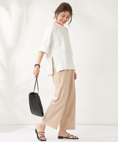 [natural couture] 編み込みベルト付きパンツ