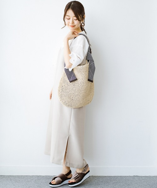 [haco!] 毎日の服に合わせやすいのに気分が上がる 持ち手がかわいいかごトートバッグ