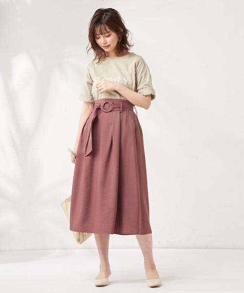 [natural couture] 共地太ベルト付きタックスカート