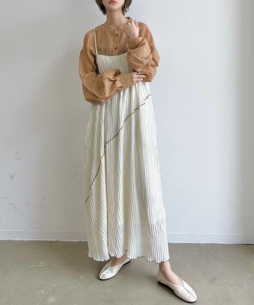 [Auntie Rosa] 【紐長さ調節可能】シフォン楊柳メローキャミワンピース/マキシ丈ロングフレアワンピース
