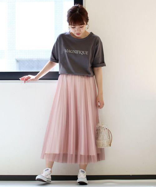 [le.coeur blanc] チュールプリーツスカート