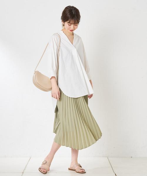 [natural couture] イレヘムプリーツスカート