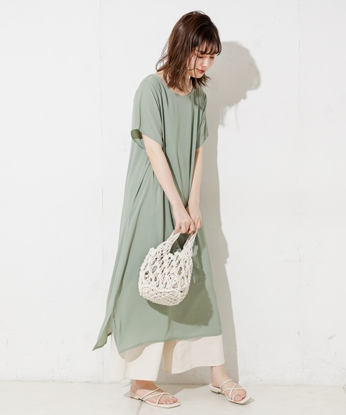 [natural couture] 楊柳シフォンシアーTワンピ