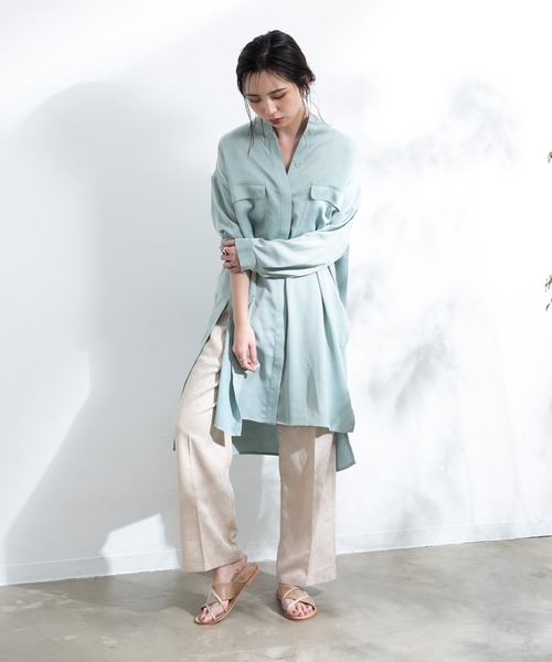 [YARD PLUS/AUNT MARIE'S] 【yukichi.】deep slit long shirt