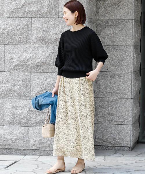 [URBAN RESEARCH] 楊柳シフォン花柄ロングスカート