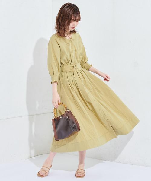 [natural couture] 袖口タック2Wayカシュクールワンピース
