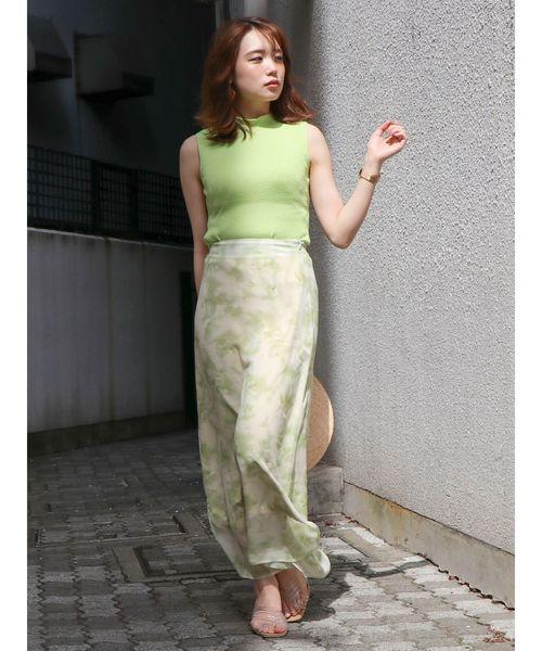 [dazzlin] タイダイ風フラワーストレートスカート