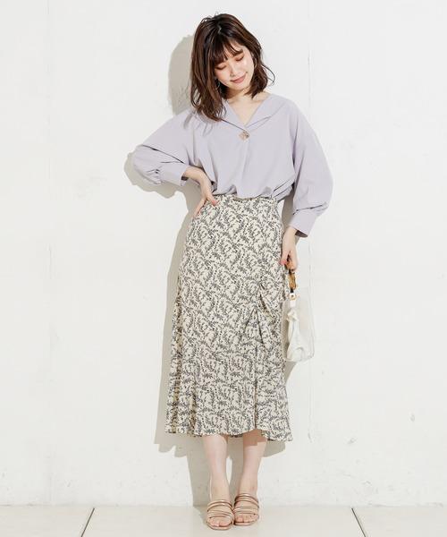 [natural couture] おしゃれ釦開襟シャツ