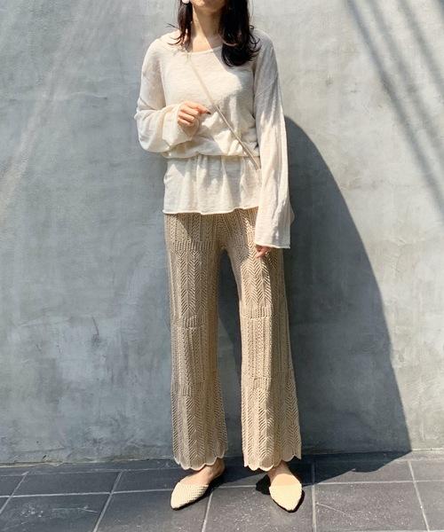 透け感が可愛い透かし編みパンツ