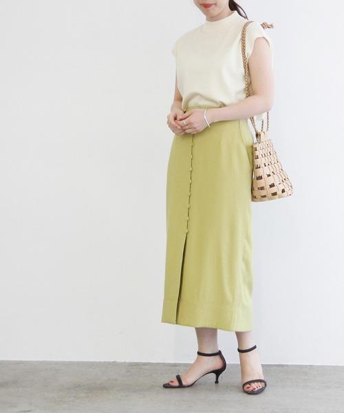 [ADAM ET ROPE'] 【一部店舗限定】フロント釦Iラインスカート