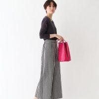 チェック柄ワイドパンツコーデ【2020最新】上品な大人の着こなしを大公開!