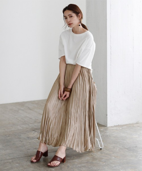 [titivate] リンクルサテンギャザーロングスカート