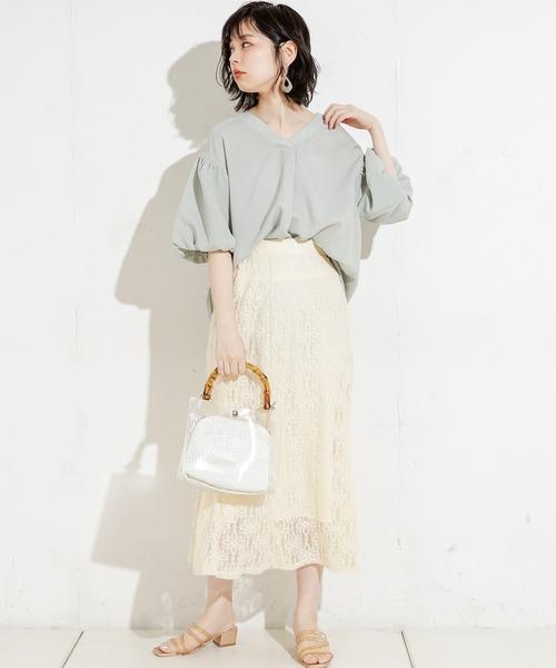 [natural couture] リネンライクバルーンスリーブブラウス