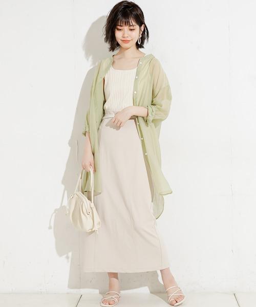 [natural couture] バンドカラーシアーロングシャツ