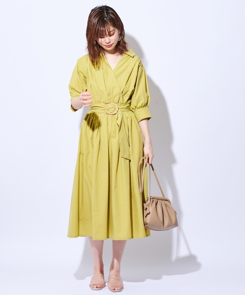 [natural couture] 【WEB限定カラー有り】カシュクールシャツワンピース