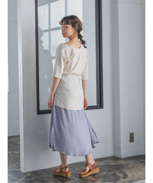 [E hyphen world gallery] サテンギャザースカート