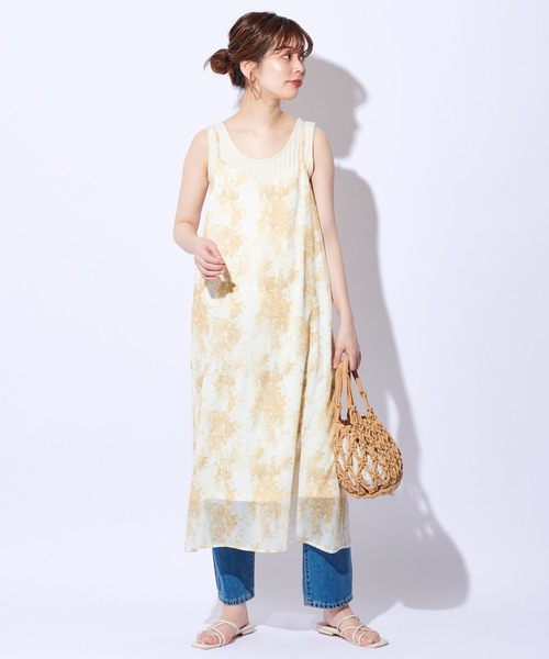 [natural couture] ほんのりタイダイキャミワンピース