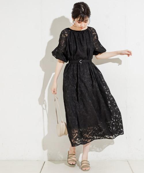 [natural couture] 【WEB限定カラー有り】オパールフラワーギャザーワンピース