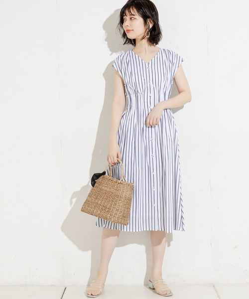 [natural couture] 【WEB限定】ウエストピンタックフレンチスリーブワンピ
