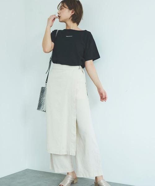 [FREE'S MART] ◇ミニロゴ刺繍ボートネックTシャツ