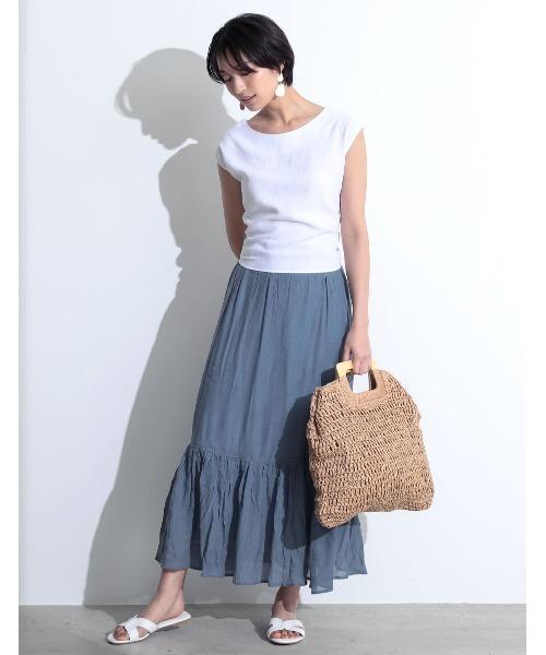 [Re:EDIT] [涼感][お家で洗える][低身長向けSサイズ対応]楊柳ロングマーメイドスカート