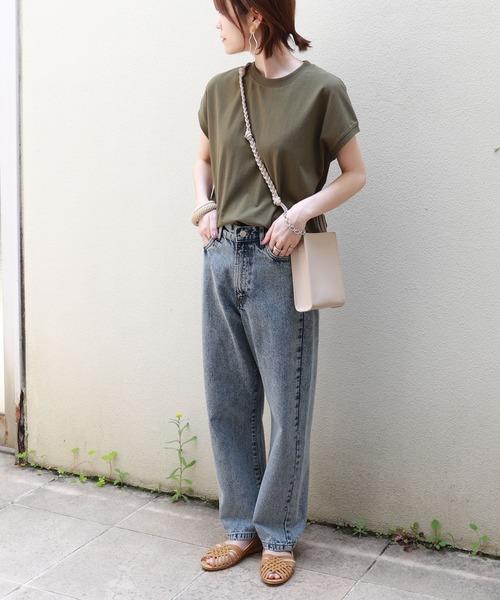 [and Me(アンドミー)] コットン裾ラウンドフレンチスリーブTシャツ