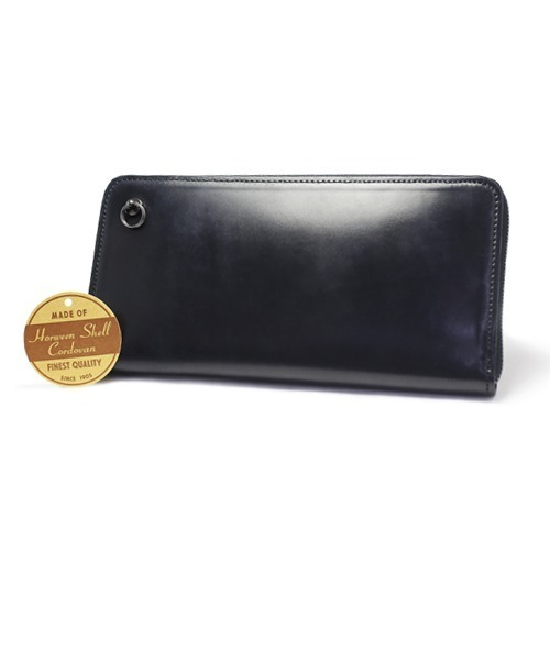 [JAM HOME MADE] シェル コードバン レザー ラウンドファスナー ロングウォレット/長財布/本革/黒