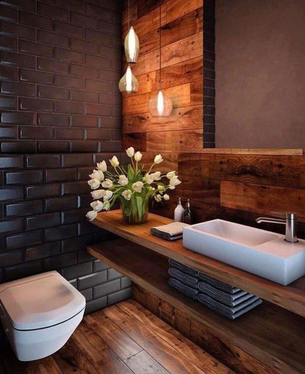 茶×黒のかっこいいトイレ
