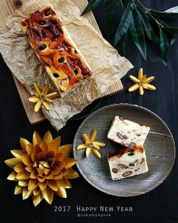 黒豆きな粉マーブルチーズケーキ