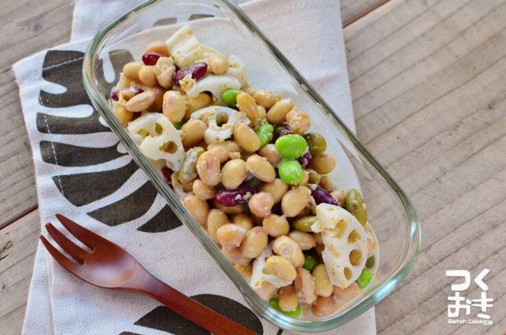 大量消費に人気!豆とれんこんのゴマサラダ