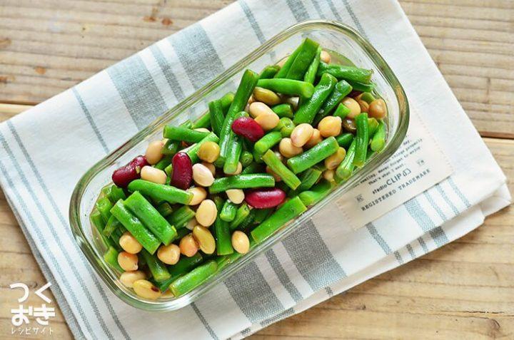 大量消費に!いんげんと豆のエスニックサラダ