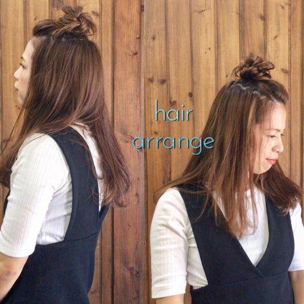 前髪なしロングヘア×ハーフアップアレンジ3