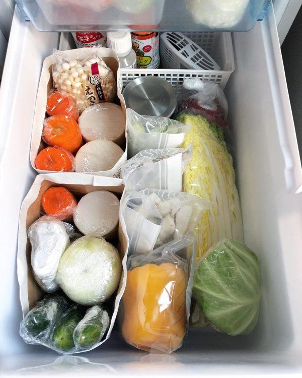 野菜室 整理整頓 アイデア8