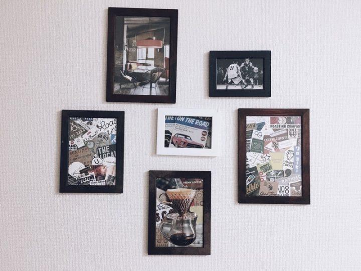 手作りのアートフレームを壁に貼る