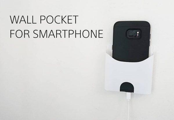 充電中もすっきり収納できるスマホ用ウォールポケット