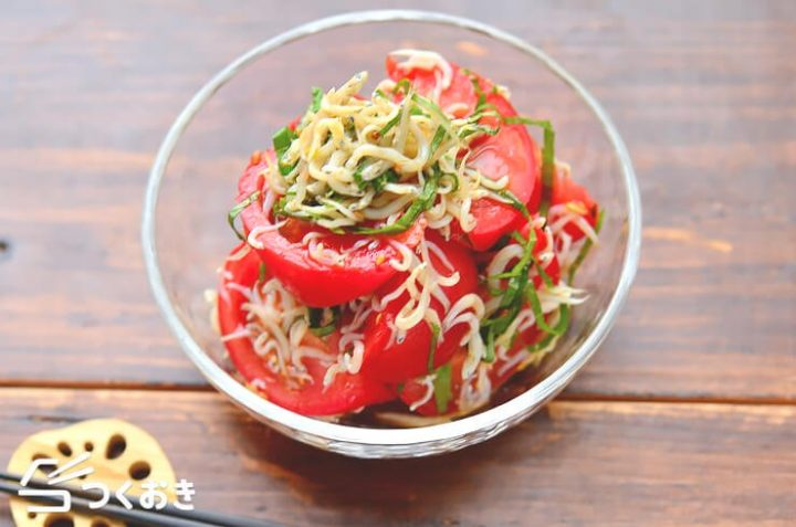 大量消費レシピ!トマトの大葉しらす和え