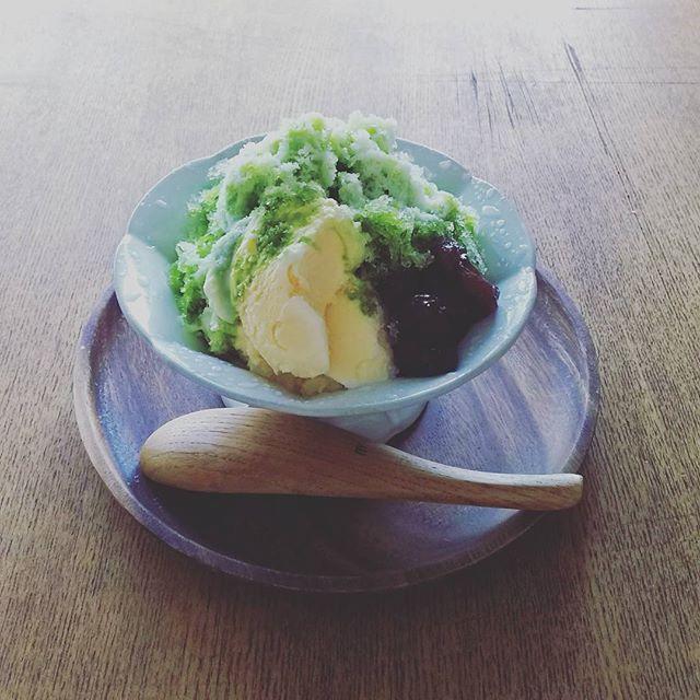 人気のレシピ!抹茶バニラアイスのせかき氷