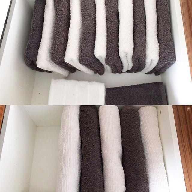 引き出しで大容量のタオル収納方法2