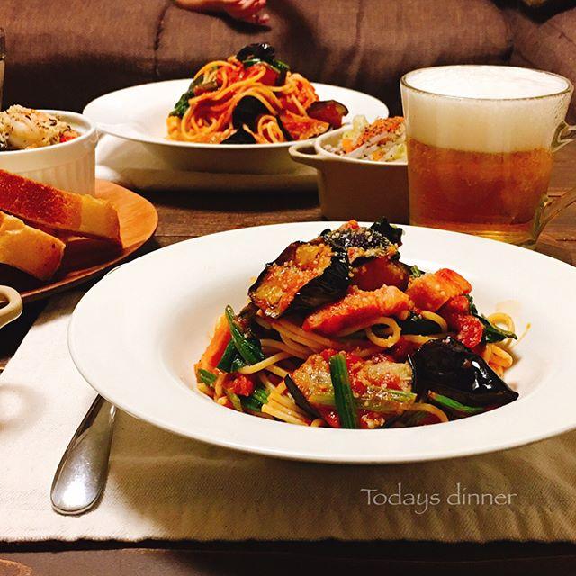 人気レシピ!ナスとほうれん草のトマトスパゲティ