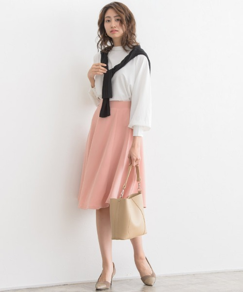 [Pierrot] ふんわり360°美人ミモレ丈フレアスカート