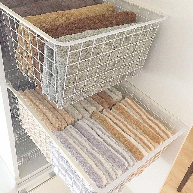 引き出しで大容量のタオル収納方法4