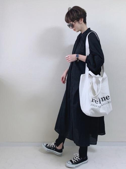 ギャザーシャツワンピース×細リブペチパンツ