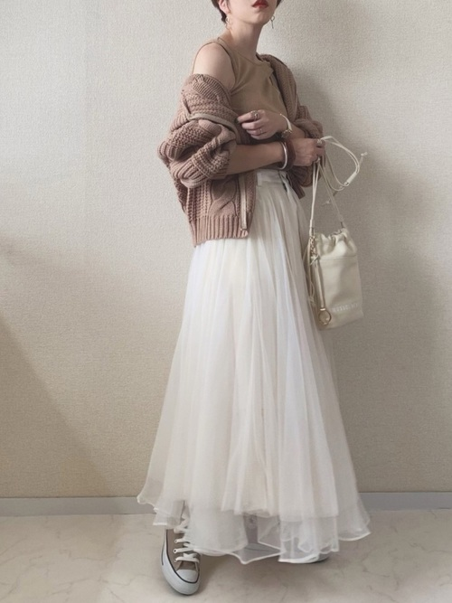 [Auntie Rosa] 【LA BELLE ETUDE】【Belle vintage】デニムドッキングボリュームチュールスカート