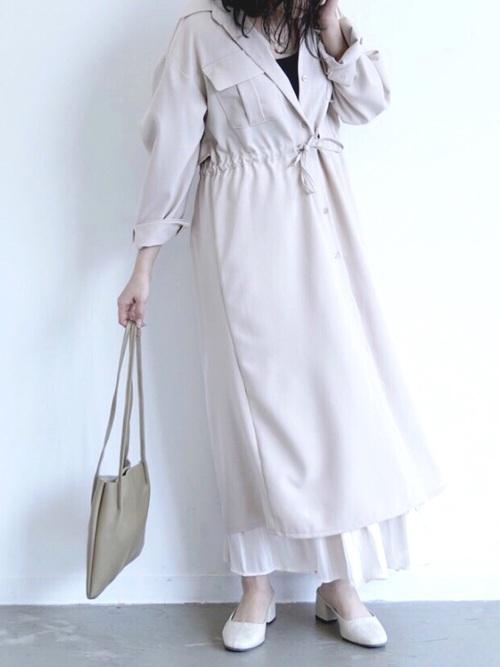 白サファリシャツワンピース×ロングスカート