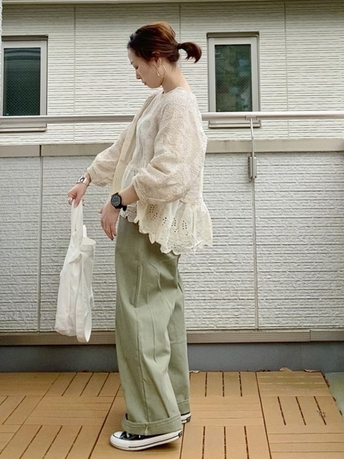 [Bonjour Sagan] 配色ステッチワイドパンツ