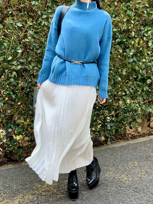 [TeddyShop] レディース ロングプリーツスカート 80㎝丈